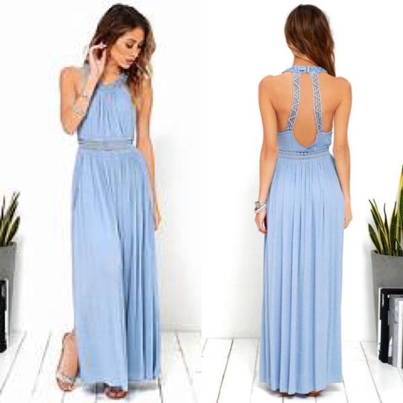 Lulus Resort Life Light Blue Lace Maxi Dress L Nwt